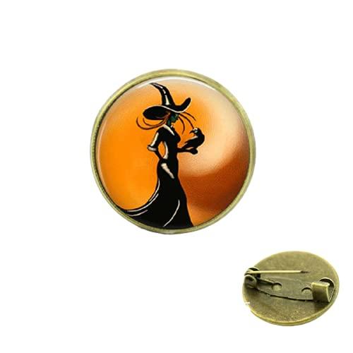 Real Pin Broche de Halloween Joyería Bruja Niños Broches Para Y Regalo de Navidad Para Bebé Cristal Cabujón Cúpula Medalla