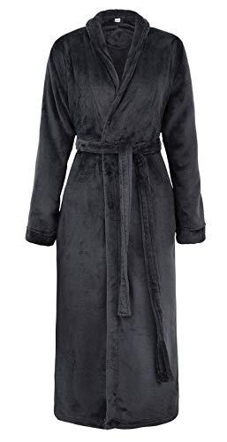 Simplicity Women Men Universal Plush Kimono Robe Bathrobe with Tie Closure Black