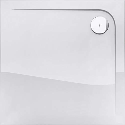 doporro Duschtasse Duschwanne Novas1W 100x100x4 flach aus Acryl in Weiß Viereckig DIN-Anschlüsse für bodenebene Montage geeignet