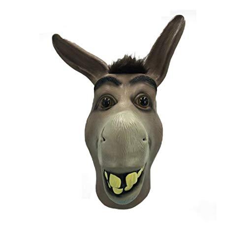 Mascarilla de burro, máscara de Halloween Shrek burro, novedad de lujo, disfraz de fiesta, cosplay de látex, máscara de cabeza de animal para adultos, color gris