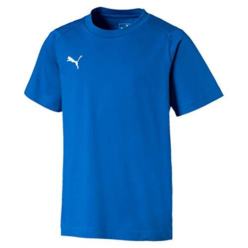 Puma Kinder Liga Casuals Tee Jr Shirt, Electric Blue Lemonade White, 128