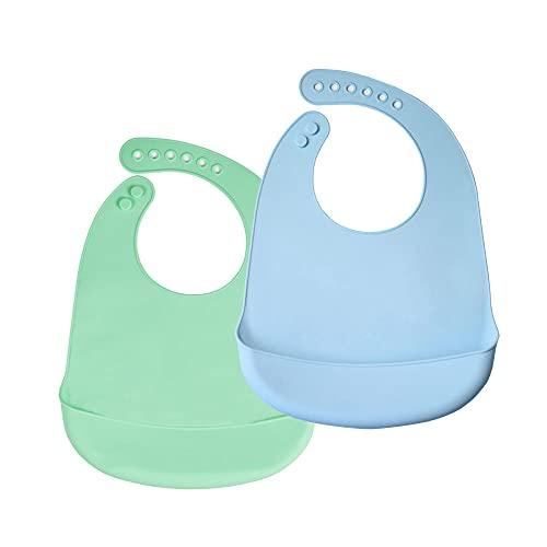 Bambini bavaglini di alimentari in silicone Set di tane 2, Super Soft Easy Pulito Bambino regolabile Unisex Bambini Ragazze Ragazze Impermeabile Immersioni Abiti da svezzamento Bibs-verde + foschia bl