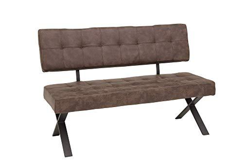 lifestyle4living Esszimmerbank mit Rückenlehne, Braun, 2-Sitzer, Vintage Look, rückenecht | Sitzbank für Esszimmer mit bequemer Polsterung - X-Gestell aus Metall