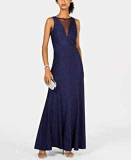 NIGHTWAY Womens Navy Ribbed Metallic Knit Illusion G Sleeveless Jewel Neck Full-Length Evening Dress US Size: 6