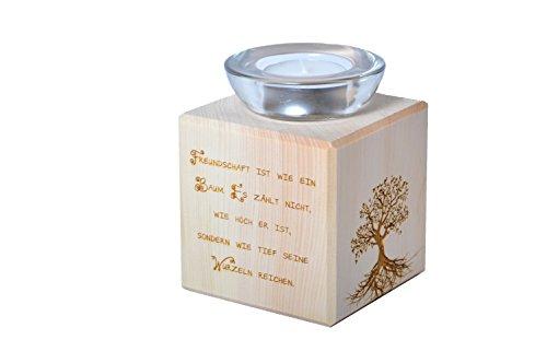 sagl.tirol Teelichthalter aus Zirbenholz Freundschaft ist wie EIN Baum