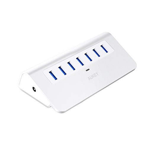 AUKEY [Upgraded] USB Hub 3.0, Aluminum 7 Port USB 3.0 Data Hub with 12V/2.5A Power Adapter, 3.3ft USB Cable for MacBook Air, Mac Mini, iMac, Laptop, PC, USB Flash Drives, Hard Drive (Silver)