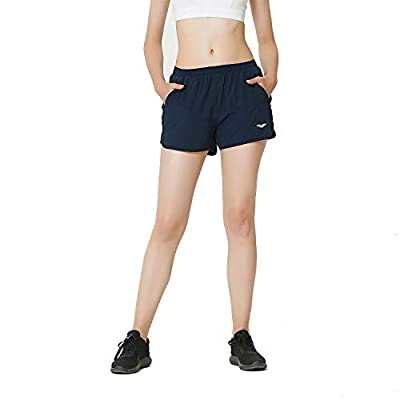 MIER Women's Workout Running Shorts Quick Dry 3 Inches Active Shorts, Zipper Pockets, Stretchy Liner, Blue, XL