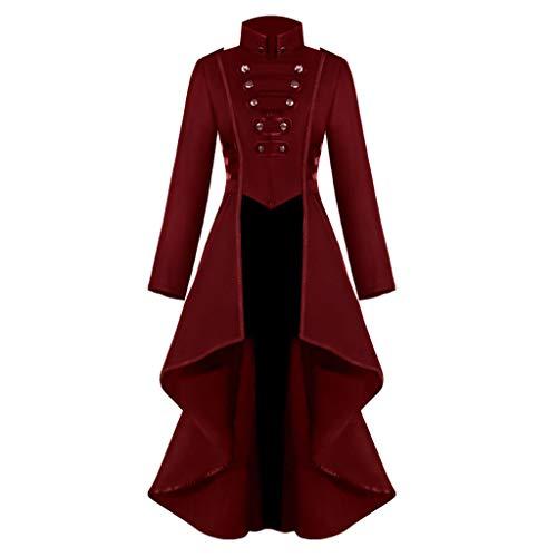 Innerternet Damen Langarm-Mantel Frack Jacke Gothic Gehrock Mode Steampunk Button Lace Retro-Smoking Männer Uniform Halloween Kostüm Party Oberbekleidung Plus Size