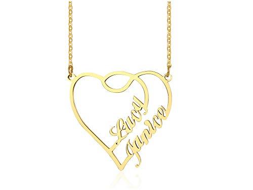 VNOX Nombres Personalizados Colgante de Collar con Nombre Personalizado,Placa de Identificación Chapada en Oro de 18 Quilates Regalo Personalizado de Cadena de Nombre de Joyas para Mujeres