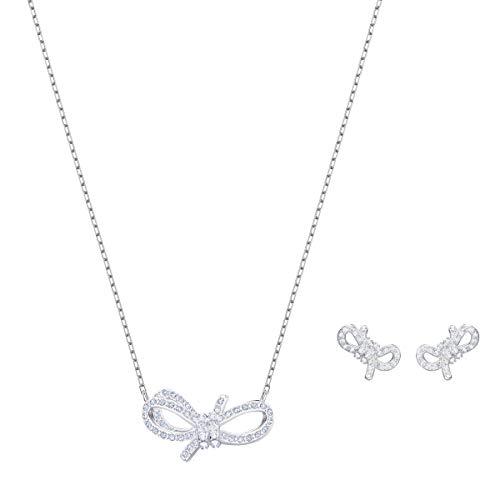 Parure Swarovski Lifelong Bow, cristal blanc, métal rhodié, pour femme