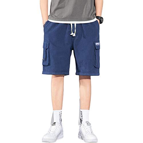 Jubaton Herrenmode Mid Waist Lounge Cargohose Summer Elastic Waist Kordelzug Mehrtaschen-Nähte Shorts mit geradem Bein 7XL