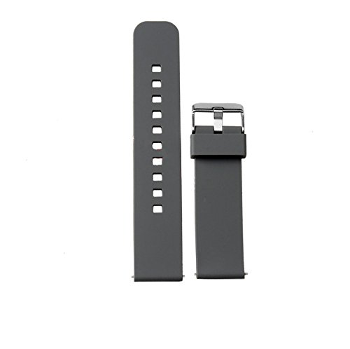 Watch Band/Strap for Pebble time Smartwatch Band Replacement Accessories with Metal Clasps Watch Strap/Wristband Silicone (Gray)
