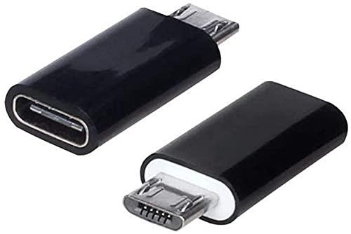 REY - Pack 2 Unidades Adaptador Conversor Carga Datos USB 3.1 Tipo C Hembra a Micro USB Macho Negro