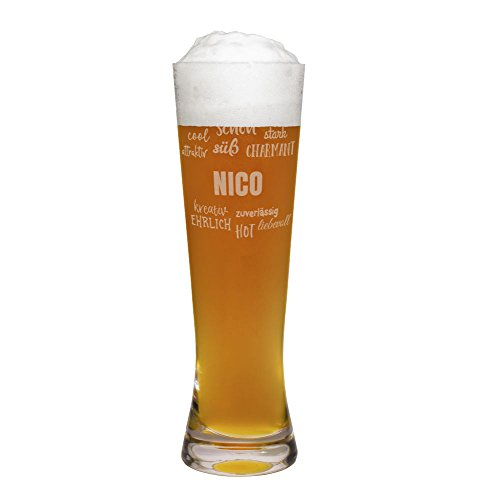 printplanet® Weizenglas mit Namen Nico graviert - Leonardo® Weißbierglas mit Gravur - Design Positive Eigenschaften