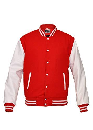 TRèS CHiC Chaqueta de béisbol para hombre, estilo universitario de Letterman, mangas de cuero auténtico blanco con cuerpo de lana