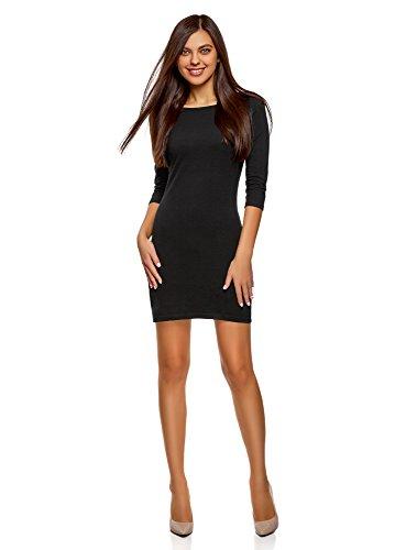 oodji Ultra Damen Baumwoll-Kleid Basic, Schwarz, DE 32 / EU 34 / XXS