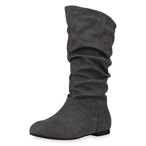 SCARPE VITA Damen Schlupfstiefel Warm Gefütterte Stiefel Basic Wildleder-Optik Schuhe Flache Slouch Boots 152414 Grau Grau 41