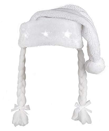 Boland 13432 kerstmuts met vlechten wit, dames,