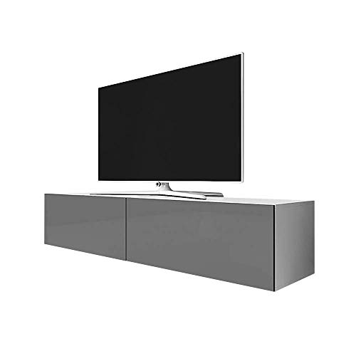 Selsey Point – tv-meubel/tv-meubel 200 cm mat wit/grijs hoogglans.