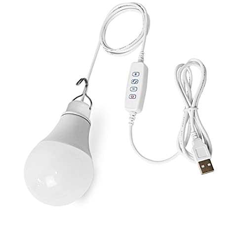 Powkey 5W USB Dimmable LED Lampe Birne mit Aufhängehaken für Camping, Wandern, Angeln, Wandern, andere Outdoor-Aktivitäten und Notlicht