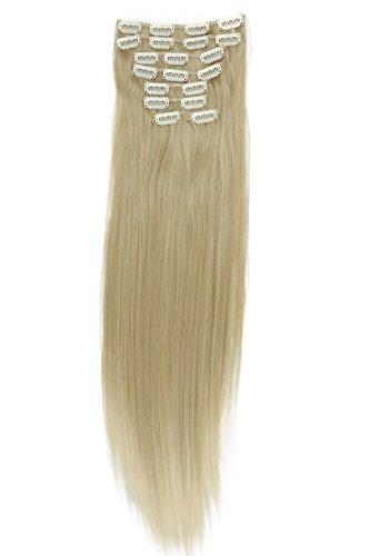 PRETTYSHOP 60cm 7-teilig XL SET Clip In Extensions Haarverlängerung Haarteil Glatt Diverse Farben (hellblond mix #25T613 CE7)
