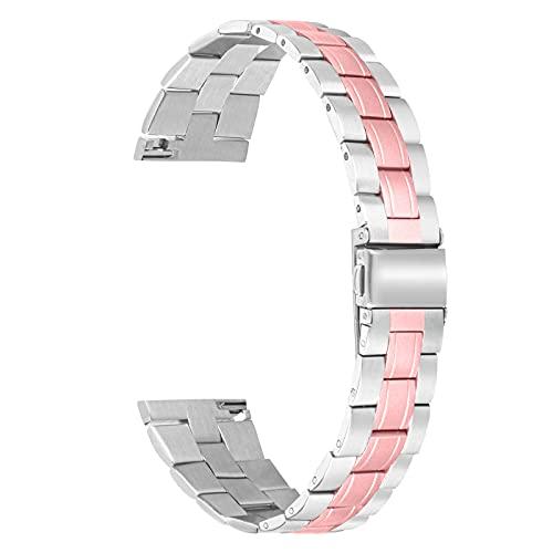 HGNZMD Pulsera Deportiva Compatible con Galaxy Watch 46 Mm, Hombres Mujeres Correas De Repuesto Pulsera De Acero Inoxidable Band De Metal Joyería Compatible con Galaxy Watch 46 Mm Reloj Inteligente,B