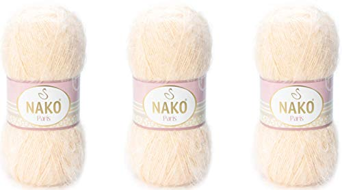 NAKO Paris, Knitting Yarn, Crochet Yarn, Acrylic Shawl Winter Hat Scarf Yarn - 3 Skein(Ball) 40% Premium Acrylic - 60% Polyamide Each Skein/Ball 100 gr 268 yds (1204-Honey)