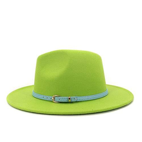 Sombrero De Paja De ala Ancha Panamá Sombrero De Viaje Sombrero De Fedora con Hebilla De Cinturón Algodón De Algodón con Sombrero De ala Ancha De Hombro Jazz Otoño In(Size:56-58cm,Color:Verde)