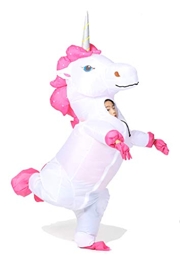 GOPRIME Inflatable Unicorn Costume White Body Silver Horn Small