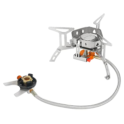 Aceshop Camping Gas Stove 3500W Windproof Backpacking Stove with Piezo Ignition, 20KG Stable Support Camp Stove Portable Gas Stove Burner with Storage Box for Outdoor Camping Hiking Cooking Picnic