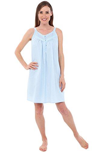 Alexander Del Rossa Womens Priscilla Cotton Nightgown, Sleeveless Victorian Sleepwear, XX-Large Sea Breeze Blue (A0527LBL2X)