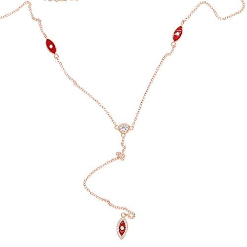 YHHZW Collar Verano Recién Llegado Joyería De Moda 925 Esmalte Rojo Mal De Ojo Mujeres Sexy Lariat Cadena Delicada Y Collar Largo-Rose_Gold_Color