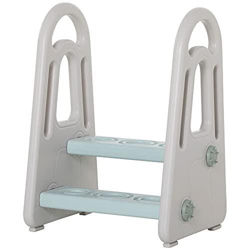 HOMCOM Lernturm Tritthocker Schemel Stehender mit 2 Stufen Pyramiden-Struktur Sicherheit Bad Schlafzimmer Küche Blau+Grau für 2-5 Jahre HDPE PP 43,5 x 38,5 x 61 cm