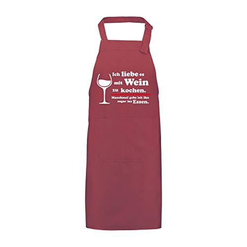 Shirtastic Schürze mit Motiv Ich Liebe es mit Wein zu Kochen Sprüche Essen Fun Spaß Grillschürze Kochschürze, Farbe:bordorot, Größe:85 x 75 cm