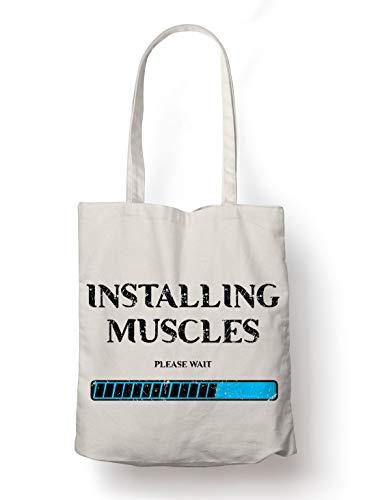 BLAK TEE Installing Muscles Loading Gym Motivation Organic Cotton Reusable Shopping Bag Natural