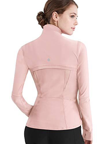 Womens Running Shirt Full Zip Workout Track Blossom Pink Jacket with Thumb Holes