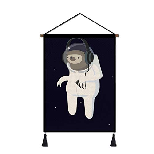 Jingclor Wall Art Hanging Poster - Astronaut Sloth Canvas Prints Artwork - Home Office Wall Decoration with Hanger Scroll Frame 18x26 Inch