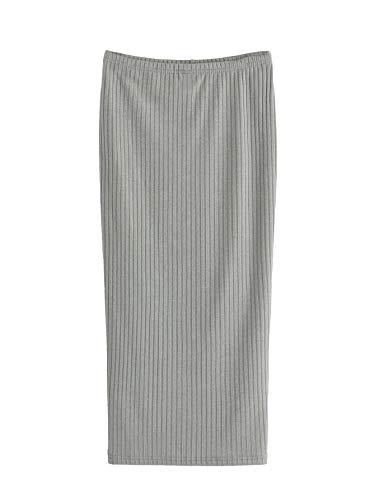 SheIn Women's Basic Plain Stretchy Ribbed Knit Split Full Length Skirt Light Grey Small