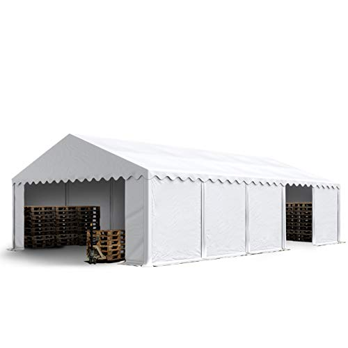 TOOLPORT Lagerzelt Unterstand 5 x 10 m in weiß Weidezelt ca. 500g/m² PVC Plane nach DIN wasserdicht