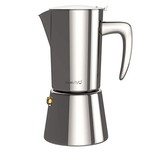 bonVIVO Intenca Stovetop Espresso Maker - Luxurious Italian Coffee Machine Maker, Stainless Steel...