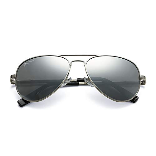 Pro Acme Polarized Aviator Sunglasses for Men and Women 100% UV Protection, 58mm (Silver Frame/Silver Mirrored Lens)