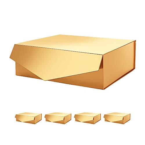 PACKHOME Caja de regalo grande, rectangular, 35,5x24x11,5cm, caja de regalo para dama de honor, caja de almacenamiento robusta, caja de regalo plegable con cierre magnético(oro brillante,5 cajas)