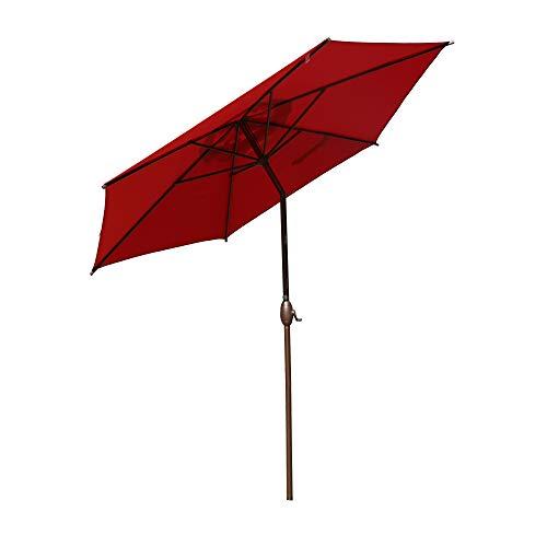 Abba Patio 9ft Patio Umbrella Outdoor Umbrella Patio Market Table Umbrella with Push Button Tilt and Crank for Garden, Lawn, Deck, Backyard& Pool, Red