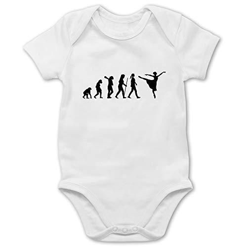 Shirtracer Evolution Baby - Ballett Evolution Arabesque - 18/24 Monate - Weiß - Mann - BZ10 - Baby Body Kurzarm für Jungen und Mädchen