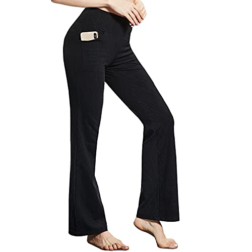 Women's Bootcut Yoga Pants with Pockets High Waisted Naked Feeling Leggings Sweatpants Loose Joggers Cropped Yoga Trousers Black