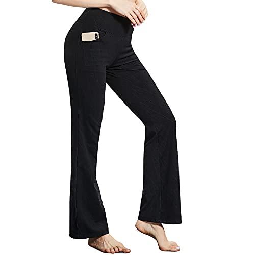 TOPLUS Pantalones de yoga, leggings, pantalones de entrenamiento, pantalones de yoga, pantalones de correr, modernos pantalones de deporte para mujer, Negro , L