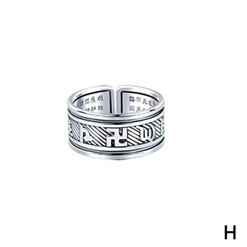ZHANGJSechs Zeichen Damen Silber Ring Männer Feng Shui Amulett Glück Offen Einstellbaren Ring Buddhistischen Schmuck Geschenk, Veränderbar, Silber