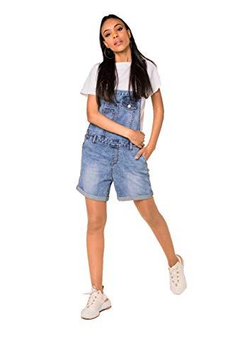 Crazy Age Damen Kurze und Lange Jeanslatzhose Denim Overall Jumpsuit Playsuit Jeans Hosenanzug Trägerhose Hosenanzug (S511, XS)