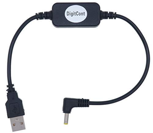 Cable de alimentación DigitCont USB 5V a DC 12V,Compatible con Amazon Echo Spot y Echo Dot 3.ª generación,Cable convertidor Elevador de Voltaje,Cable Adaptador de Fuente de alimentación,un pie,negro