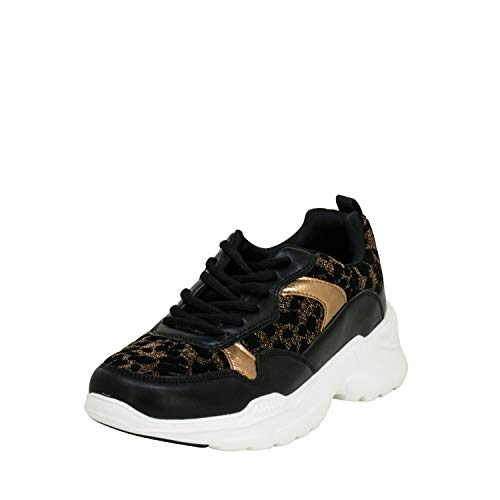 Fitters Footwear That Fits Damen Sneaker Madeleine Lederimitat Moderner Sneaker mit Leo-Print Übergröße (42 EU, Bronze)